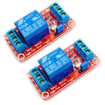 2pcs 12V 1 Channel Relay Module Relay Switch With Optocoupler Isolation High Low Level Trigger