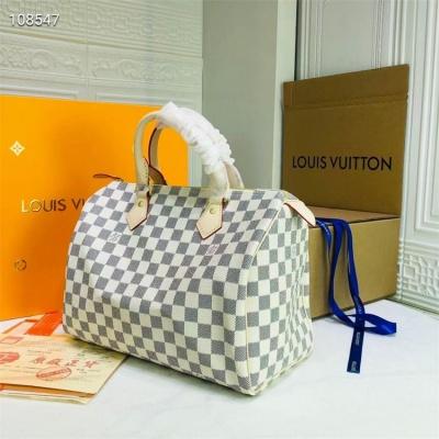 LV Shoulder Handbag - #40391 White Plaid Speedy