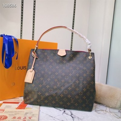 LV Hand Bag - #43704 Classic Coffee Hot Pink Color Linning