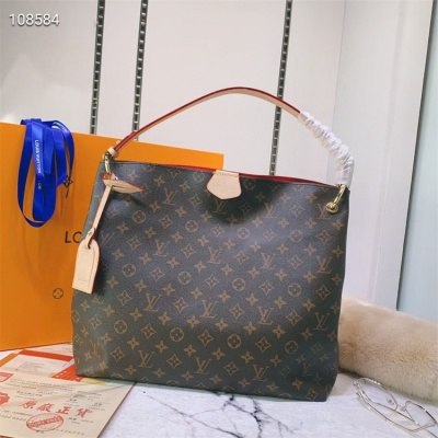 LV Hand Bag - #43704 Classic Coffee Red Color Linning