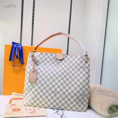 LV Totes - #43704 White Plaid Almond Color Linning