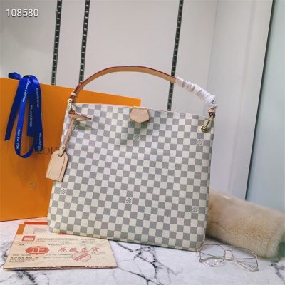 LV Totes - #43704 White Plaid Pink Color Linning
