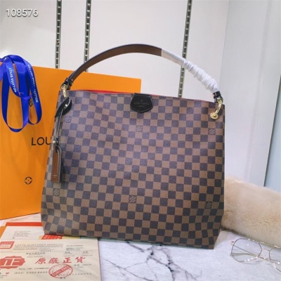 LV Totes - #43704 Coffee Plaid Red Color Linning