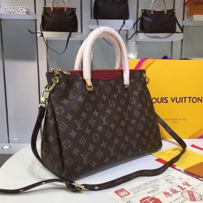 LV Totes - #M40906 Classic Brown Pallas Burgundy Lining
