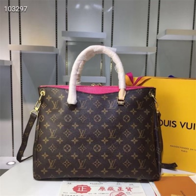 LV Totes - #M40906 Classic Brown Pallas Rose Pink Lining