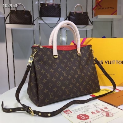LV Totes - #M40906 Classic Brown Pallas Red Lining