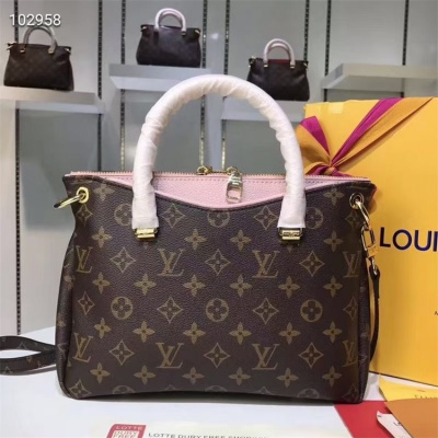 LV Totes - #M41243 Classic Brown Pallas BB Pink Lining