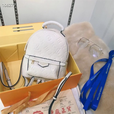LV Backpack - #M41560 White Leather Plamspring MM Medium Size