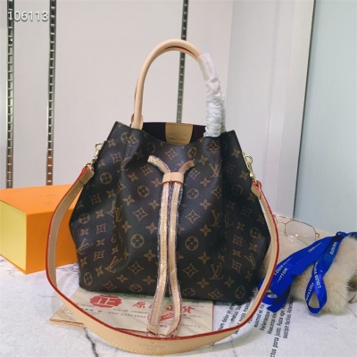 LV Totes - #M41579 Classic Brown Neverfull Burgundy Lining