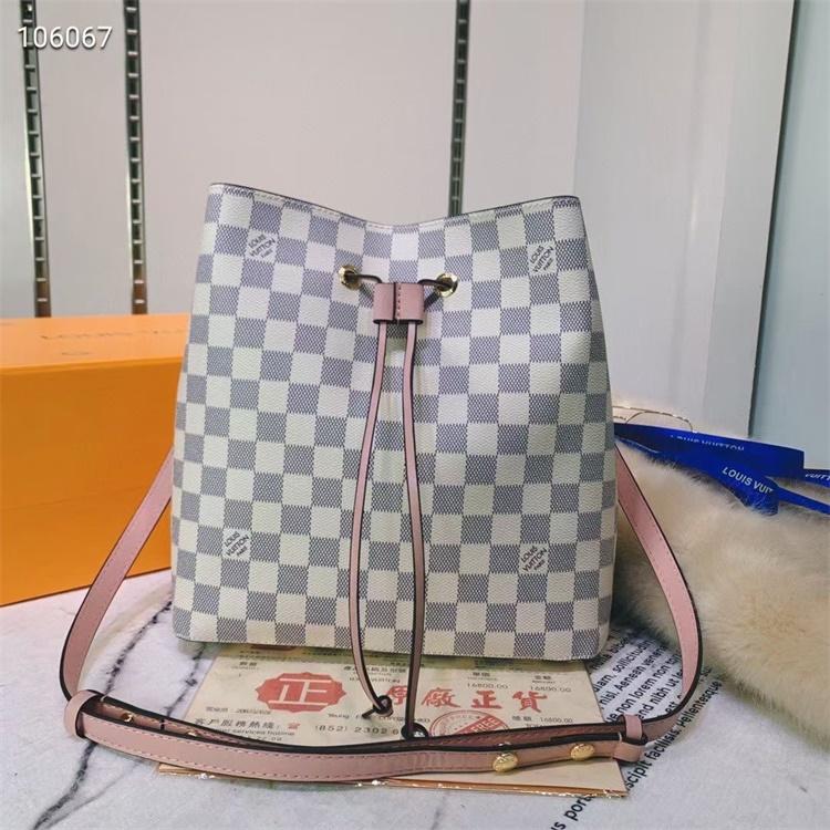 LV Shoulder & Cross Body Bags - #M44022 White Plaid Neonoe Pink Lining