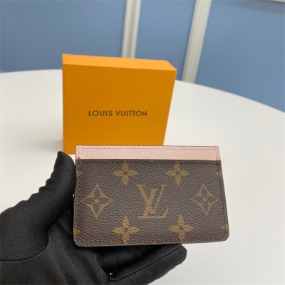 M61733 - LV Classic Brown+ Baby Pink Triming Leather Wallet