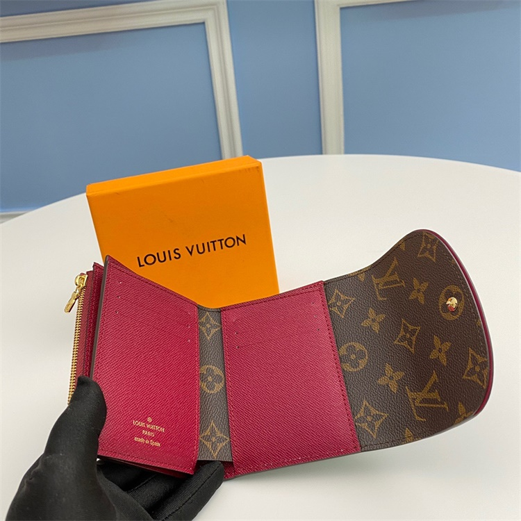 M62036 - LV Classic Brown+ Burgundy Triming Ariane Leather Wallet