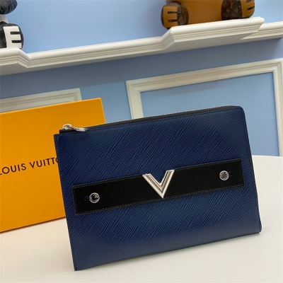 M62092 - LV Navy Blue Pochette Plate Essential Leather Wallet