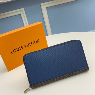 M62930 - LV Blue Zippy Organizer Damier Graphite Leather Wallet
