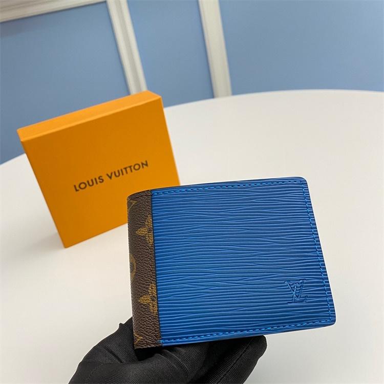 M62964 - LV Blue+Brown Multiple Patchwork Leather Wallet