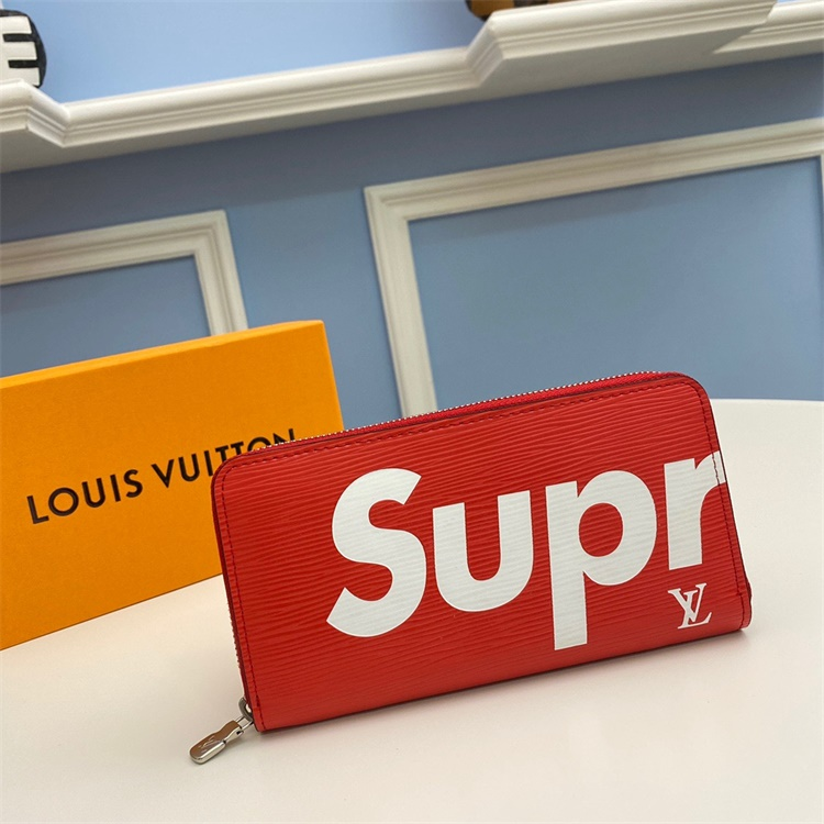 M66855 - LV Red Superme Brazza Leather Wallet