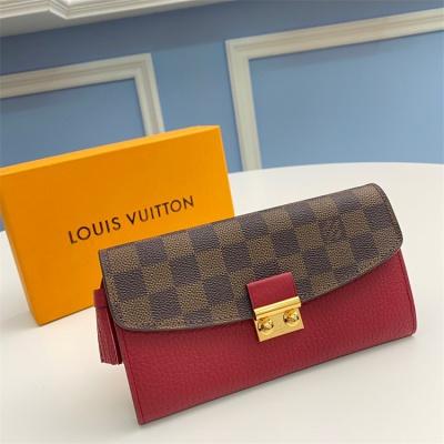 N60207 - LV Burgundy Croisette Damier Ebene Leather Wallet