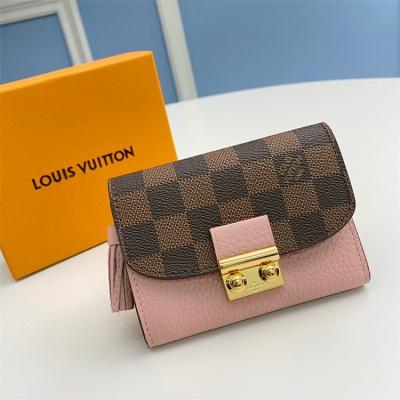 N60208 - LV Pink Croisette Damier Ebene Leather Wallet