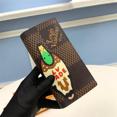 N60393 - LV Coffee Brazza Virgil Abloh Giant Damier Ebene Leather Wallet