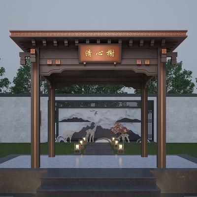 现代简约园林小区别墅铝合金新中式凉亭耐腐蚀支持定制