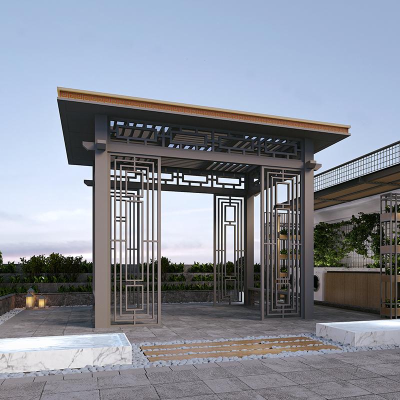阳合铝艺厂家户外小区园林别墅庭院铝合金新中式亭子图片支持定制