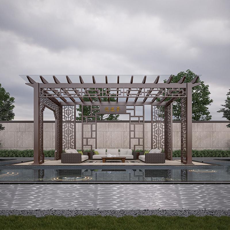 阳合别墅花园庭院葡萄架铝合金凉亭架定制工厂直供