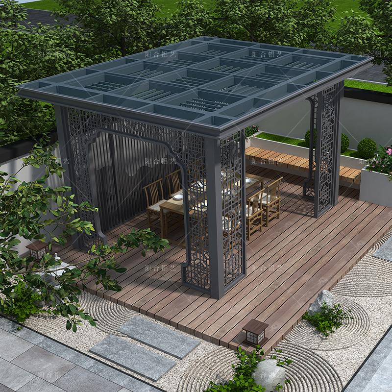新中式凉亭 别墅花园庭院室户外遮阳棚平顶玻璃亭子 铝合金厂家定制