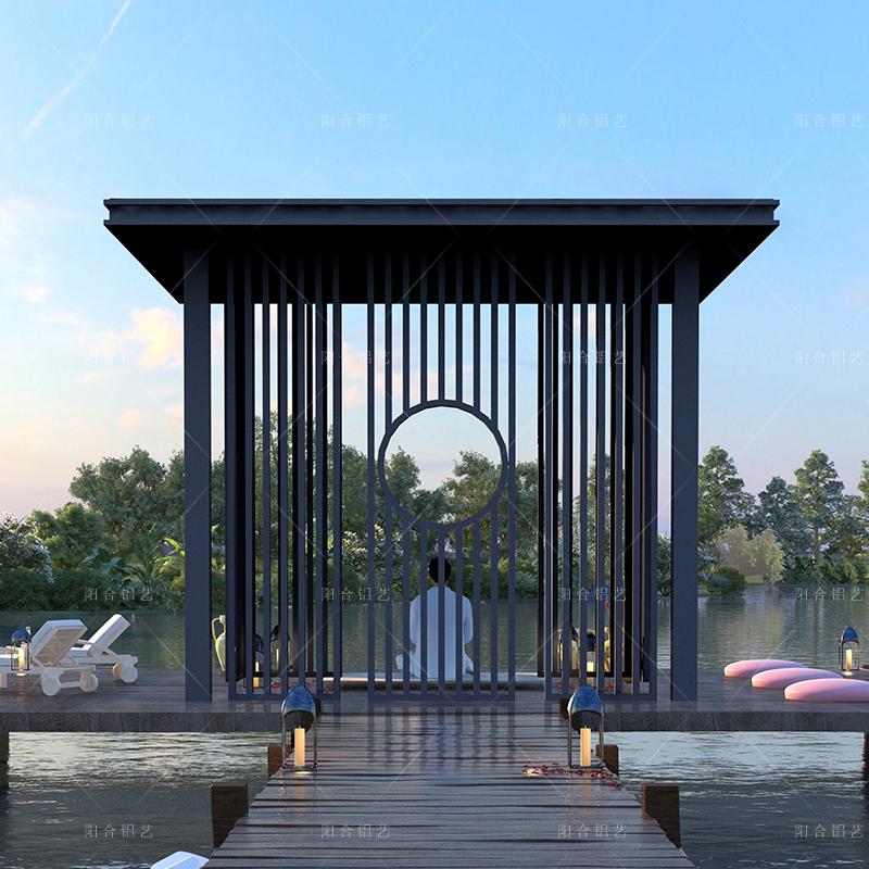 新中式铝合金凉亭定制 庭院休闲别墅花园平顶亭子 户外景观四角凉亭