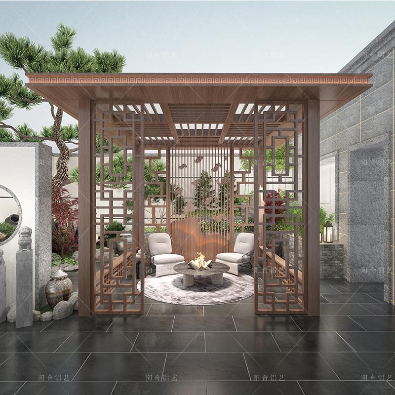 定制设计园林铝合金新中式凉亭 工程景观亭庭院 简约中式亭子