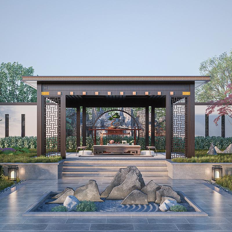 新中式铝合金凉亭 户外庭院休闲廊架凉亭 现代简约平顶庭院