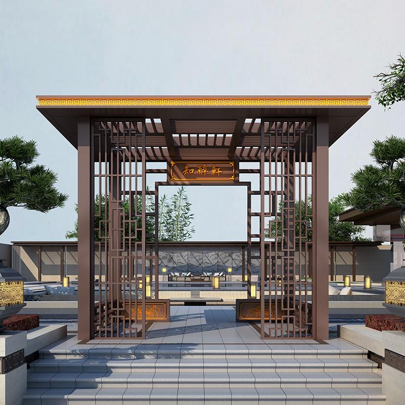 全铝合金庭院亭子 户外休闲新中式凉亭 景观平顶休闲亭厂家
