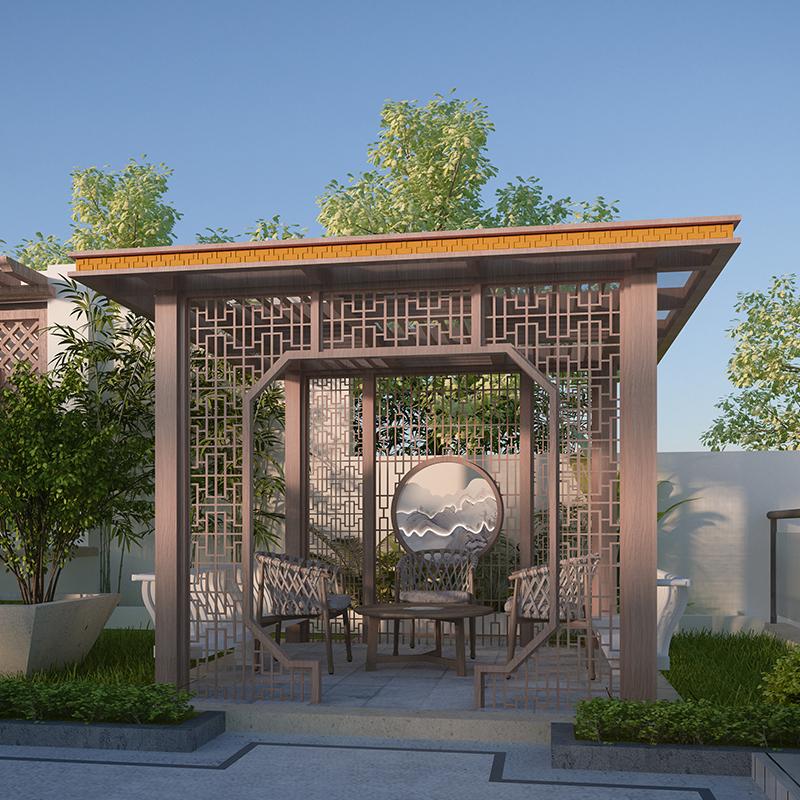 铝合新中式简约园林凉亭 户外长廊景观廊架凉亭 庭院新中式亭子
