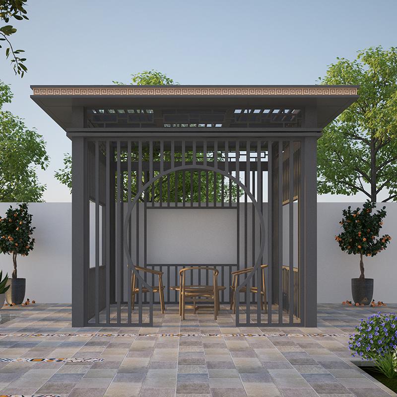 新中式凉亭铝合金凉亭定制 别墅小区户外亭子 庭院花园茶水亭
