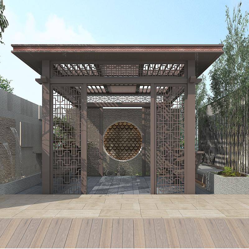 定制别墅亭子 设计家用亭子 花园庭院新中式铝合金凉亭