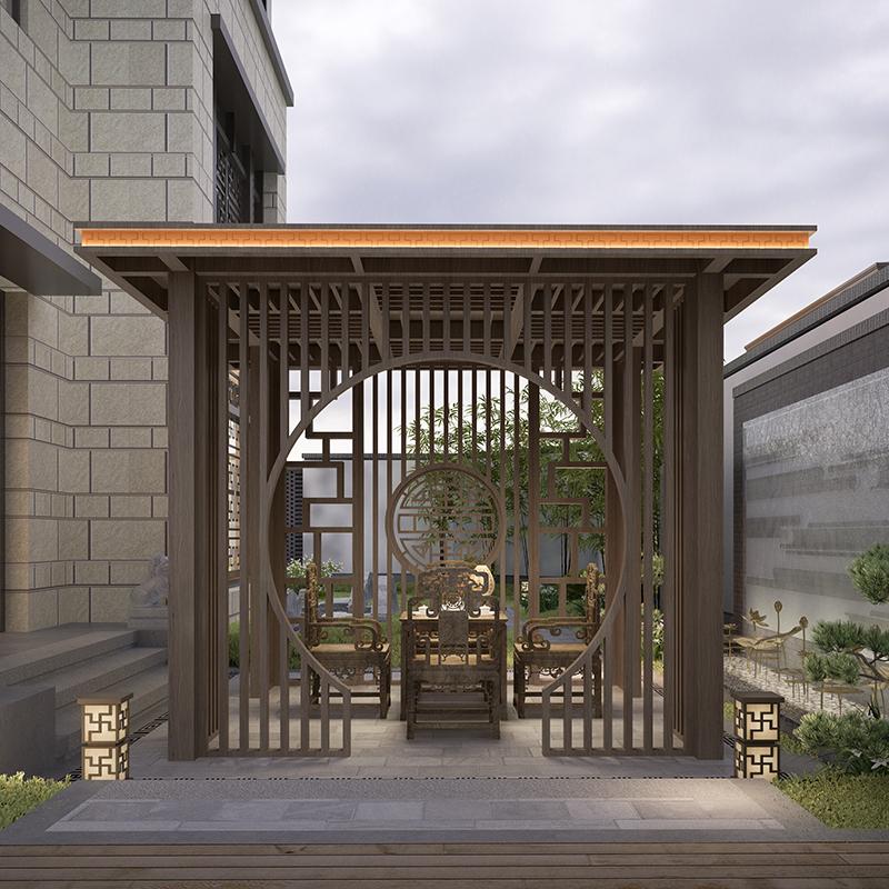 新中式凉亭户外铝合金休闲亭别墅庭院花园景观亭子简约现代定制