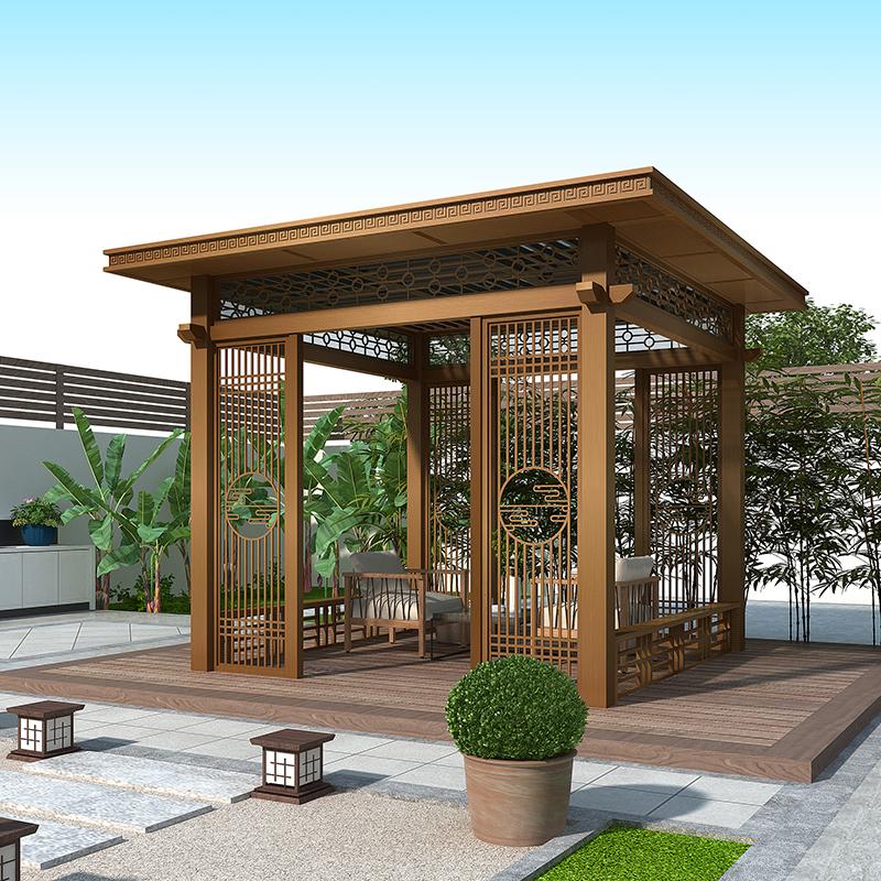 铝合金新中式凉亭 别墅庭院休息屋平顶户外景观亭 厂家定制