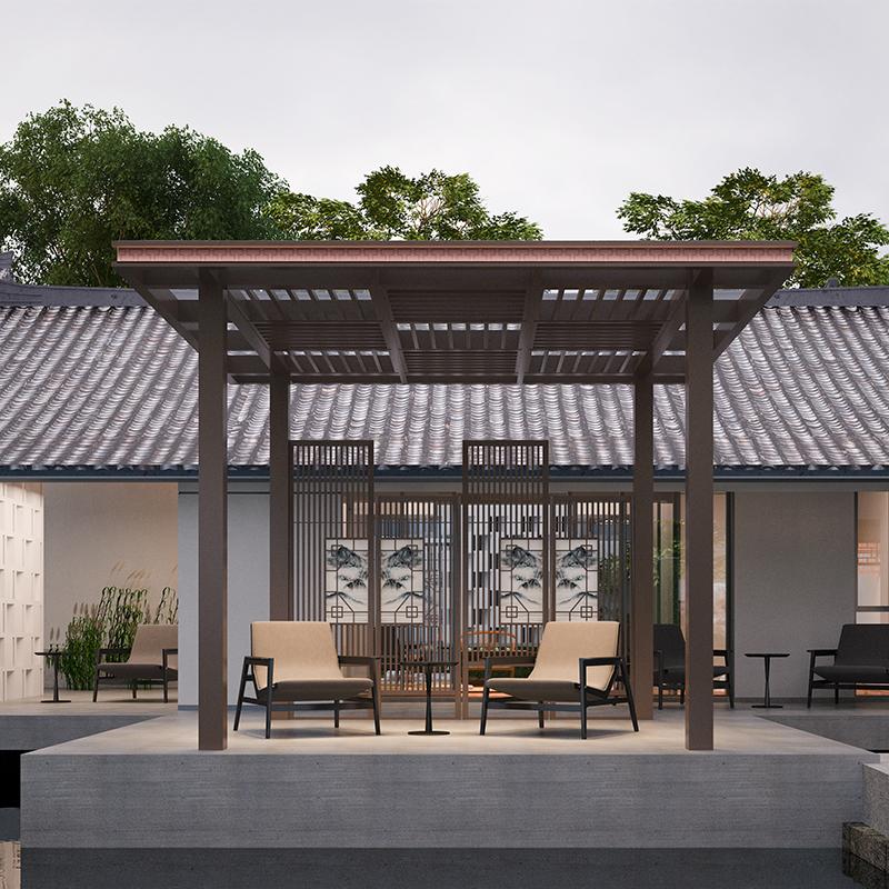新中式凉亭 铝合金花园庭院爬藤架 花园凉亭 庭院景观凉亭