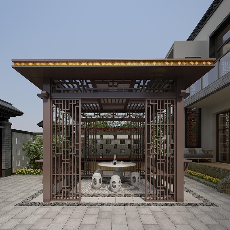 厂家定制生产户外园林市政别墅铝合金休闲凉亭新中式景观亭