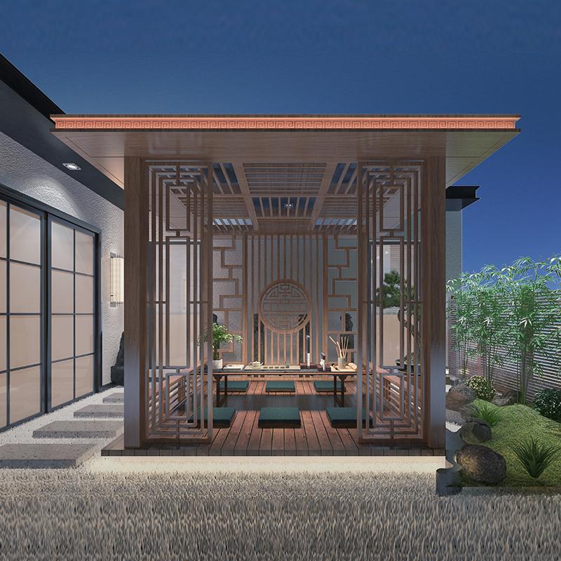 铝合金亭子新中式简约古建凉亭园林庭院室外凉亭长廊景观廊架定制