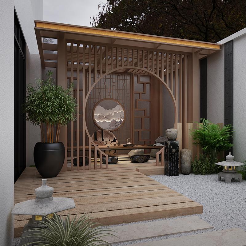 新中式凉亭 铝合金庭院凉亭 户外现代亭子 四角凉亭定制