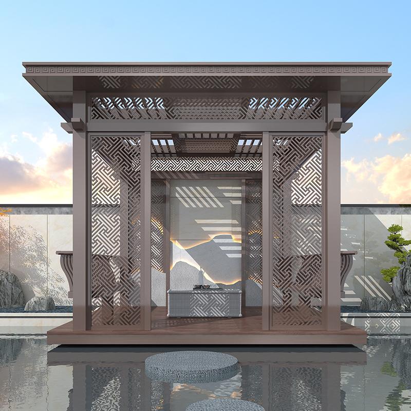 户外遮阳庭院 新中式花园亭子 室外凉亭 新中式休闲凉亭