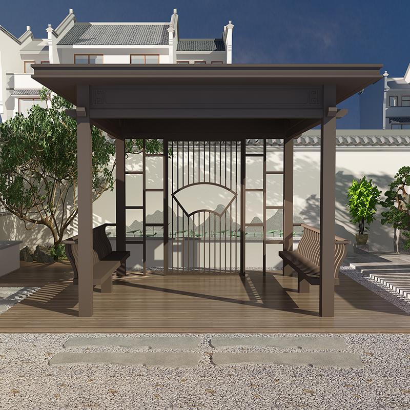 简约新中式凉亭 园林新中式廊架 庭院室外铝合金亭子 长廊景观廊架凉亭