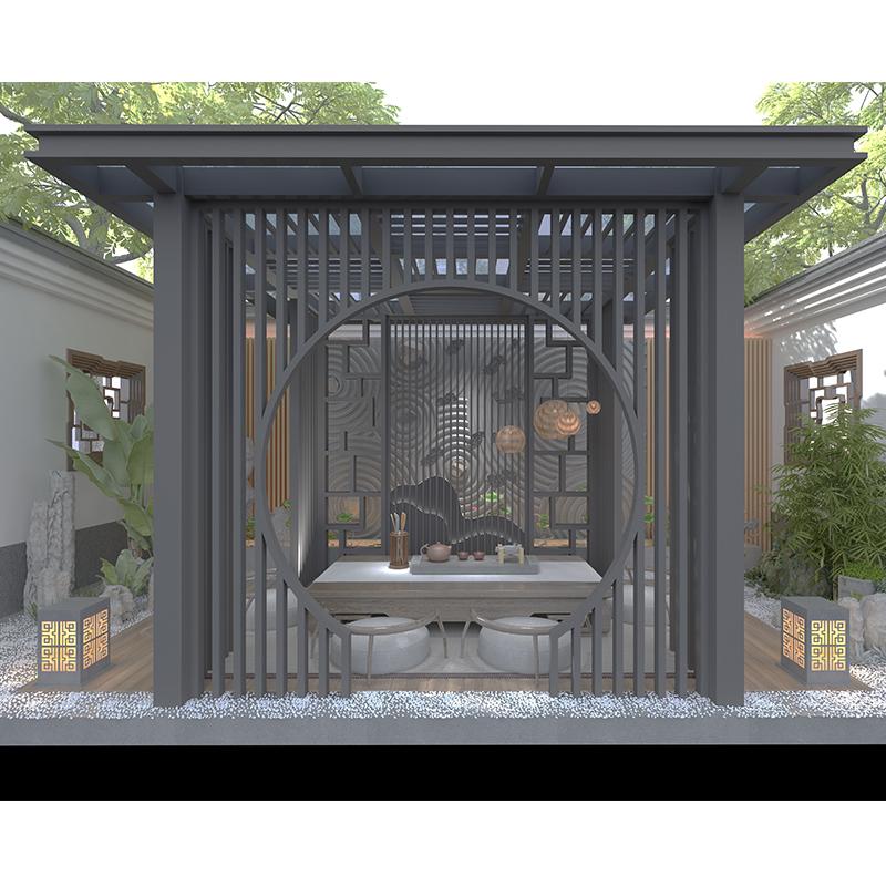 简约新中式凉亭 园林新中式廊架 庭院室外铝合金亭子 长廊景观廊架