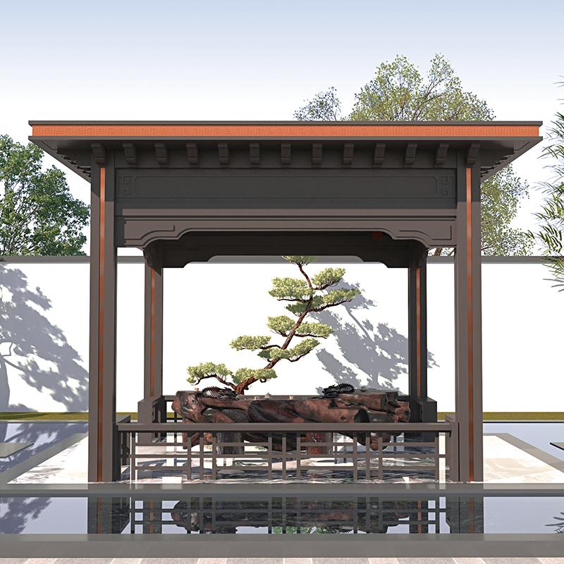 定制铝合金凉亭 现代景观凉亭 室外阳光房平顶新中式凉亭