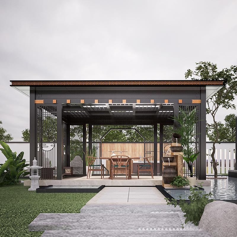 户外铝合金凉亭 阳光房庭院园林新中式凉亭 别墅小区景观亭子