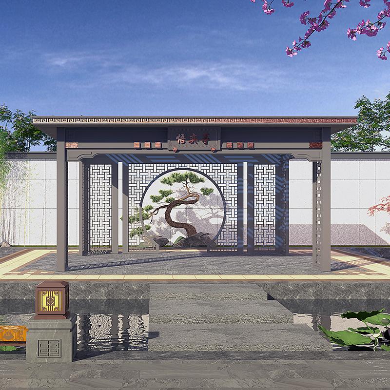 小区新中式凉亭 小区铝合金凉亭 铝合金新中式凉亭厂家