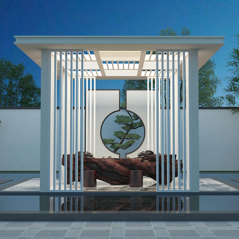 阳合铝艺 小区新中式凉亭 小区铝合金凉亭