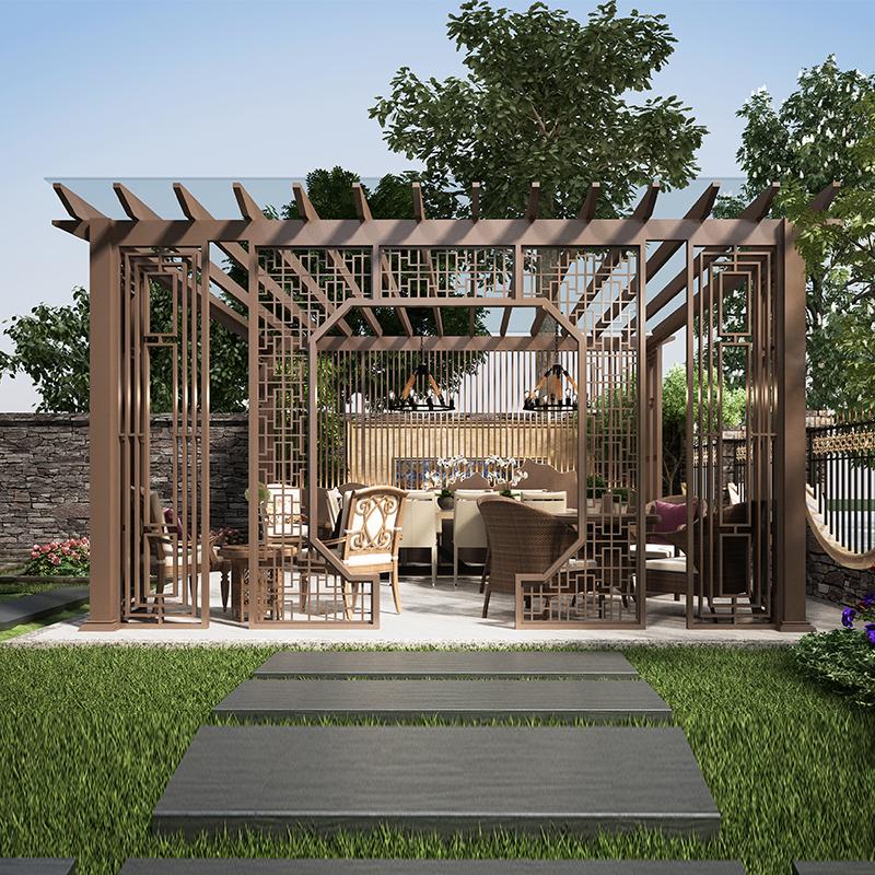 庭院防腐木纹葡萄架 户外花园别墅花架 园林景观铝合金爬藤廊架