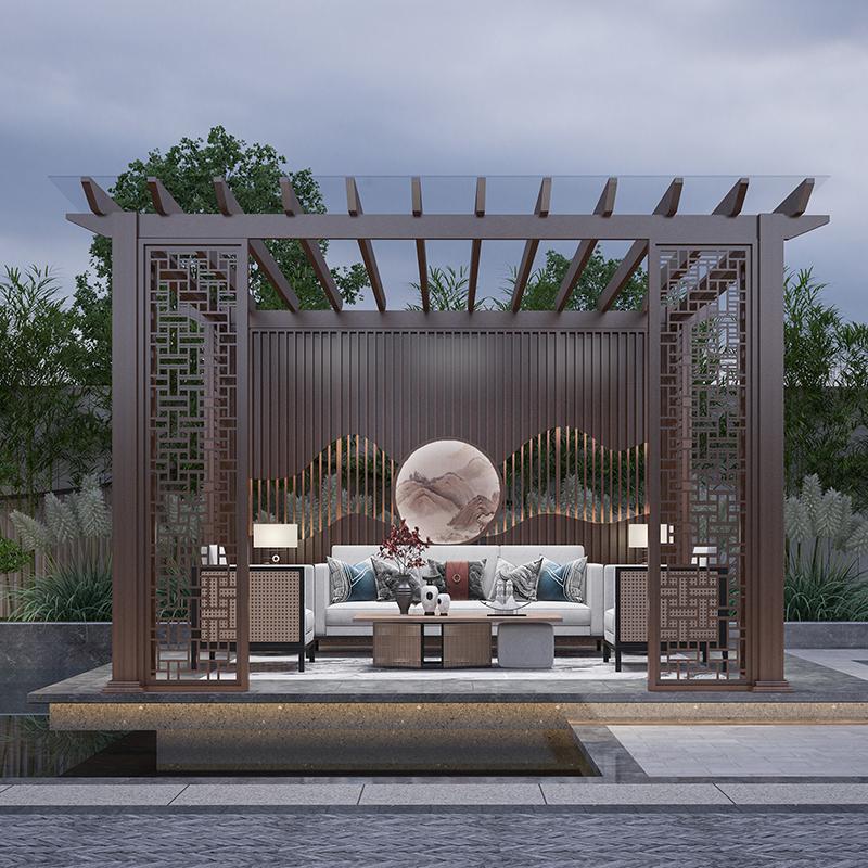 别墅花园铝合金花架 庭院户外园林爬藤花廊架 弧形葡萄架