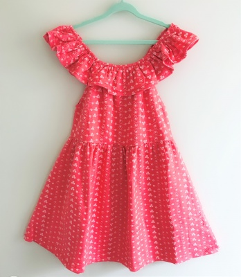 184005 girls dress - watermelon